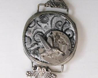Silver Humming Bird Steampunk Necklace