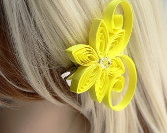 Neon Yellow Wedding Hair Clip, Electric Yellow Wedding Hair Accessory