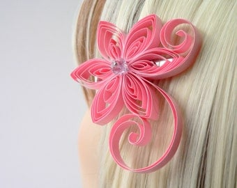 Pink Wedding Hair Accessories Flowers, Cherry Blossom Pink Wedding Hair Clip, Cherry Blossom Wedding Hair Accessory