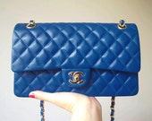 1990S Royal Blue Quilted Lambskin Medium Double Flap with gold hardware