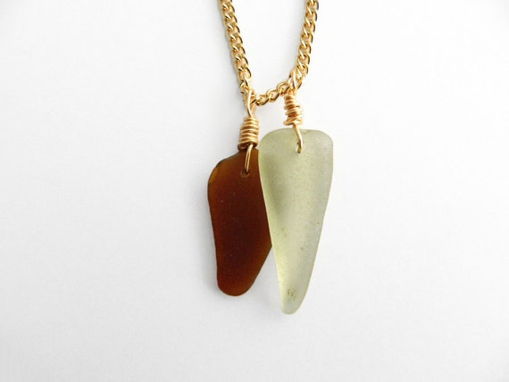 Sea Glass Necklace in Gold - Amber Brown & Seafoam Green Genuine Beach Glass Jewelry
