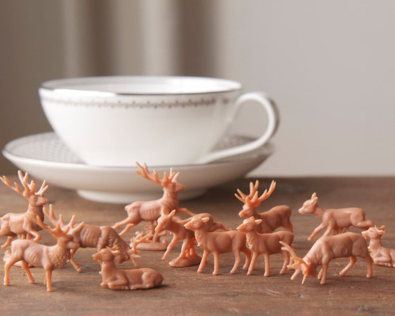 miniature plastic deer one dozen tiny woodland deer craft