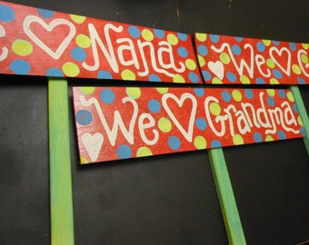 """3 Custom Wood signs each one 24"""" sign and attached on a short stake"""