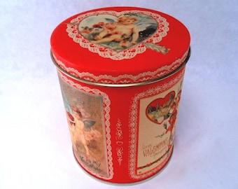 Cookie Tin Canister Valentine Bristol Ware Vintage 1984