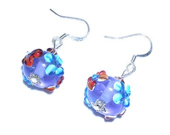SALE Floral Lampwork Earrings