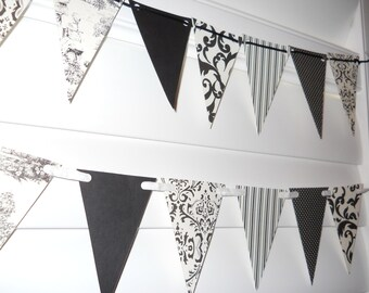 Tiny French Provincial Banner - Black and White