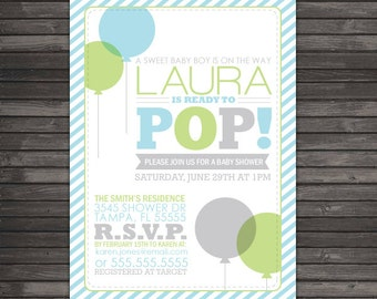Ready to Pop Baby Shower Invitation Printable - Boy Baby Shower Invitation - Green Blue Baby Shower Invites - Balloon Baby Shower Invitation