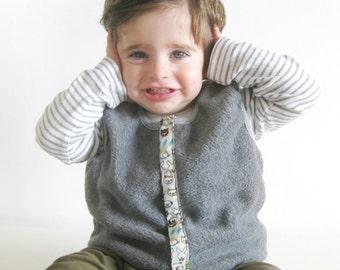Baby Boy Vest, Reversible Fleece Vest, Baby Clothing