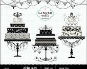 Wedding Cake clip art, black cake, multi tier cake, wedding invitation