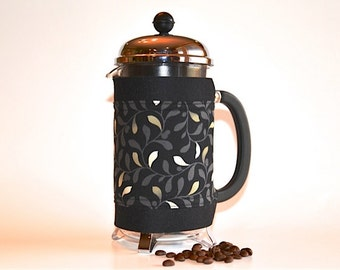 "French Press ""Bean Belt"" Coffee Cozy - ""Habitat"" Leaves"