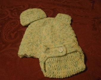 spring dress, hat and diaper cover