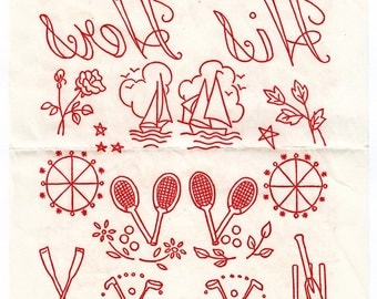 Vintage 50s Iron on Embroidery Transfer - His and Hers