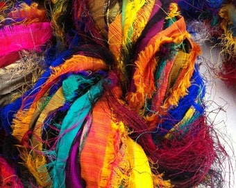 Recycled sari silk ribbon, Unique eyelash edging, Amazing texture, 50g, Pure iredescent silk sari ribbon.