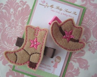 Girl hair clips - cowgirl hair clips - girl barrettes