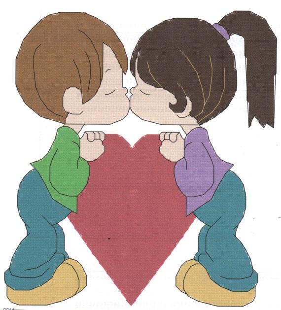 Couple Kissing Man & Woman Cross Stitch Pattern you can personalize