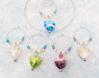 Heart Wine Charms - Set of 5 glass heart wine glass charms