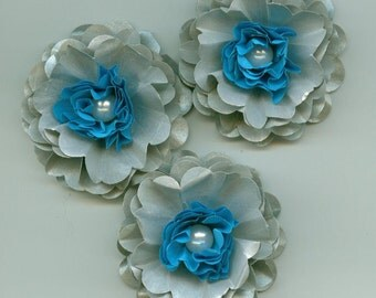 Happy Hanukkah Inspired Peony Paper Flowers Sliver and Blue