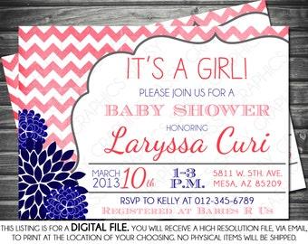 Girls Baby Shower Invitation - Chevron, Mums, Pink, Navy, Printable, Digital