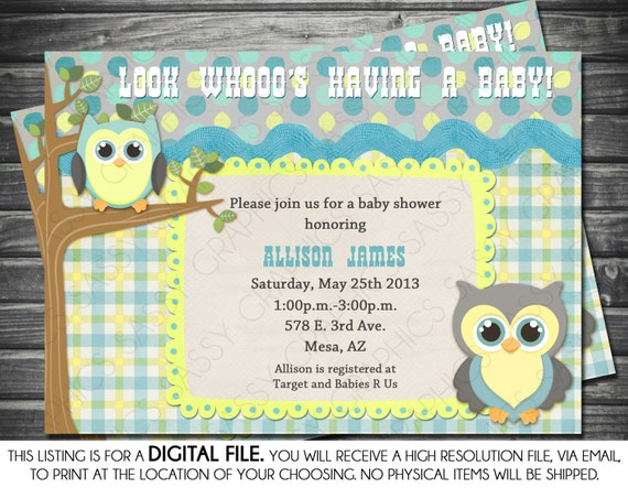 boys baby shower invitation owl theme blue yellow gray printable