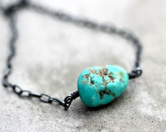 Rough Blue Green Turquoise Bracelet, Summer Aqua Blue Green Raw Turquoise Oxidized Sterling Silver Bracelet Earthy Rustic Jewelry