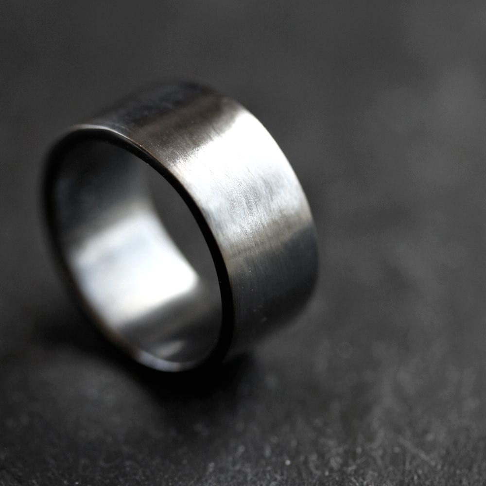 Mens Silver Wedding Band 10mm Wide Simple Flat Band