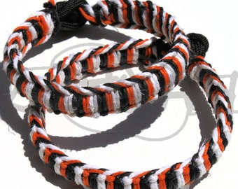 Cincinnati Bengals Hemp Wrapped over 550 Paracord Survival Strap Bracelet Anklet w/ Knot and Loop Closure