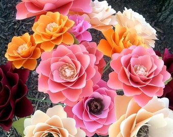 Paper Flowers - Bouquet - Wedding - Birthday - Special Events - Set of 48 - Mixed Sizes - Any Color - Made To Order