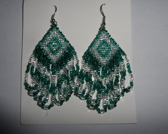Teal and Silver Beaded Earrings