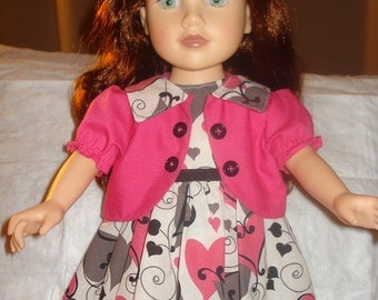 Pink & grey heart print dress with jacket for 18 inch Doll - ag143