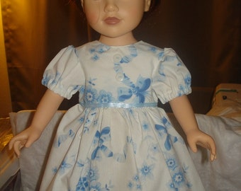 SALE - Handmade blue floral full dress for 18 inch Dolls - ag07