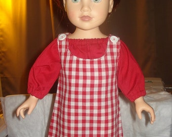 Handmade 18 inch Doll checked jumper and red top set - AG27
