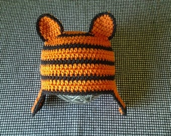FREE SHIPPING coupon code FEBSALE Crochet Tiger Hat with Earflaps Ready to Ship