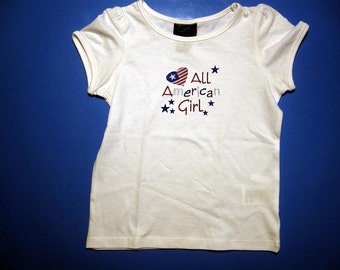 Baby one piece or  toddler tshirt - Embroidery and appliqued All American Girl