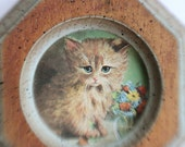 Vintage 60's Kitten and Flowers Illustraion and Original Frame