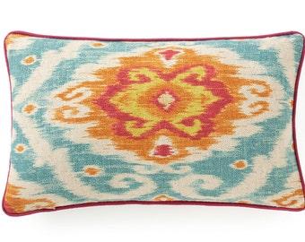 "Pillow, cushion cover 20""  ikat, suzani, orange, aqua, blue  pattern 14x24"