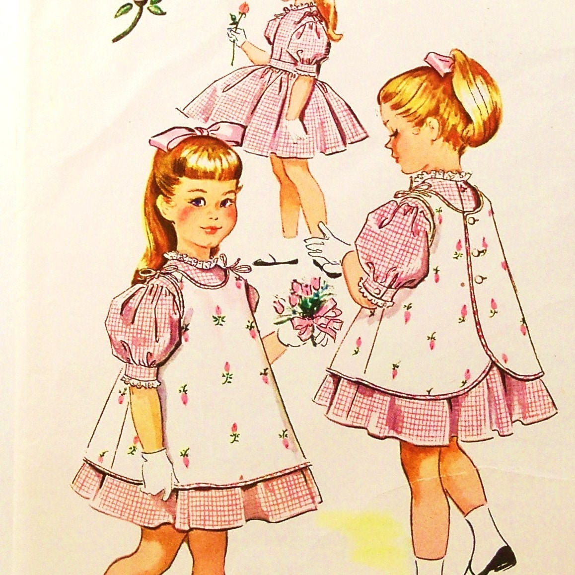 Vintage 1950s Girls Dress Pinafore Apron By