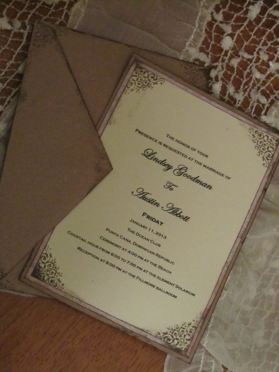Items similar to shabby chic wedding invitations on etsy for Wedding invitations in spanish etsy