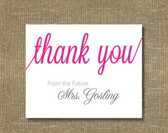 Thank You From the Future Mrs / Formal Thank You's / Bridal Shower Thank You Cards / Thank You Notecards - 5 Pack of Bridal Thank You Cards