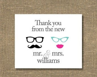 Thank You From the New Mr and Mrs Cards / Wedding Thank You's / Bridal Thank You Notes - PACK OF 15 | Vintage | Beach | Sunglasses | Glasses