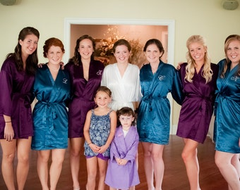 Bridesmaid robes set of purple robes teal robes Bridesmaid Robe Gift Monogrammed Personalized Robes junior bridesmaid robes child robes kid