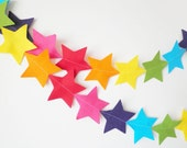 Big Rainbow Star Garland - made with wool blend felt in bright rainbow colours, perfect for kids room or birthday - HandmadeCuddlesShop