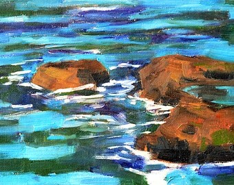 Rocks at Ocean Beach Landscape Painting
