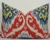 Iman Designer Ikat Pillow - Red and Blue Lumbar Pillow - Decorative Pillow Cover - throw pillow - 14x20 - Accent pillow