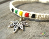 Rasta Hemp Bracelet with Marijuana Leaf Charm
