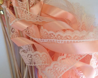 100 Wedding Wands Lace Ribbon Bells Gold or Silver Streamers