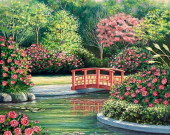 Flower garden with a footbridge crossing over a lily pond - Original Oil Painting