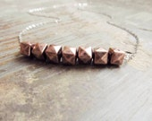 Copper Vermeil Necklace, Geometric Vermeil  Necklace, Mixed Metal Jewelry, Faceted Nugget