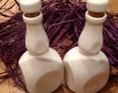Set of 2 White porcelain Bottle with porcelain cork stopper