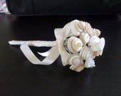 Ivory Cream White Toss Bouquet, wedding, alternative, artificial flowers, posy