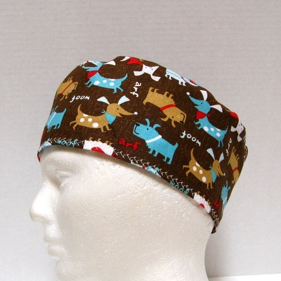 Mens Scrub Hat Or Surgical Cap With Dogs On Brown